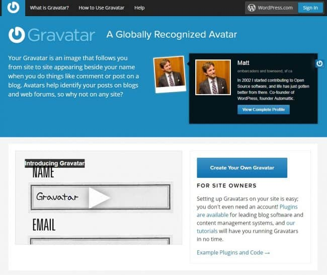 Main Page Gravatar Official Website