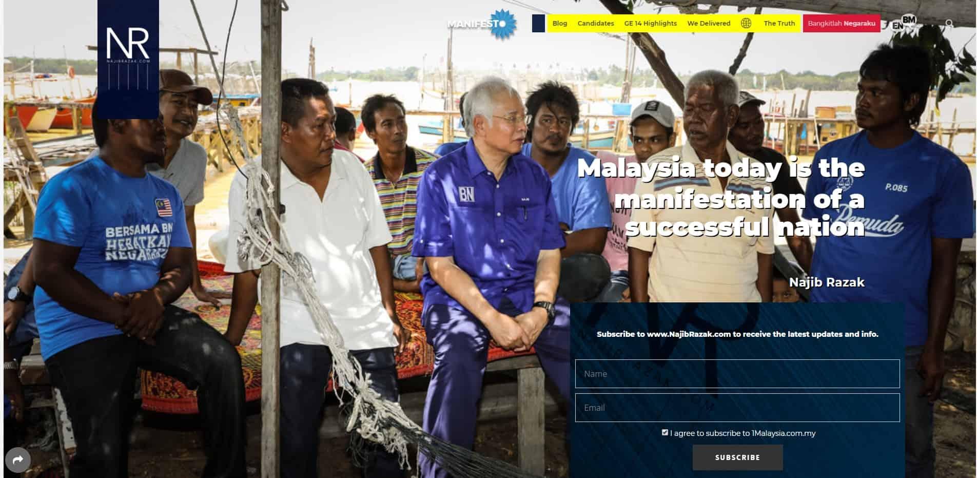 Website Najib Razak - Contoh WordPress - Kursus WordPress